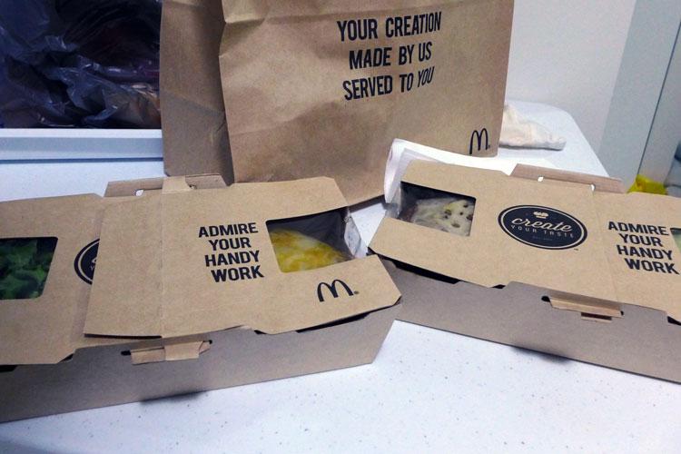 mcdonalds create your taste maccas  takeaway package