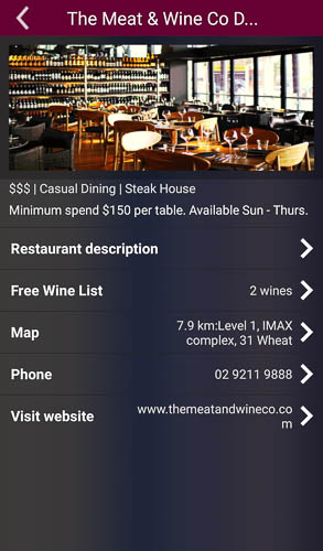 meat and wine co darling harbour free wines app screenshot