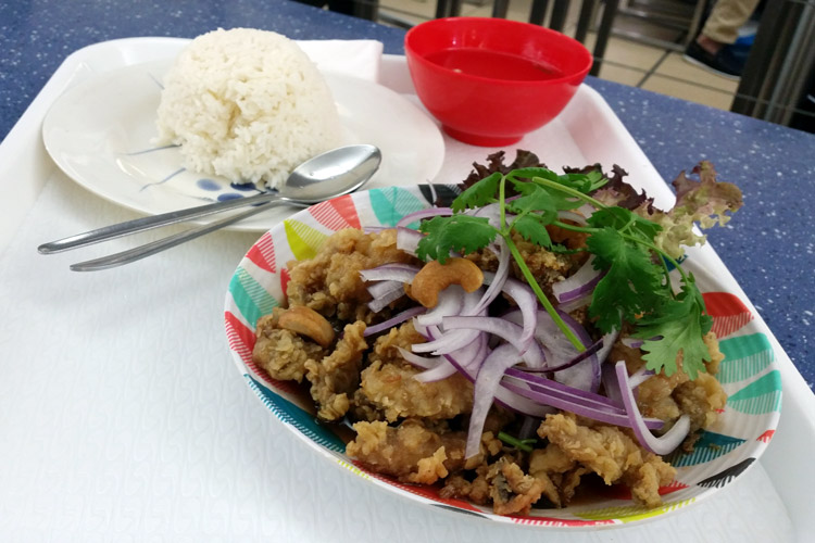 tiger cave eating world food court chinatown sydney deep fried chicken with tamarind sauce close