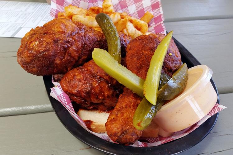 belles hot chicken Wulugul Pop Up The Streets of Barangaroo pop up sydney fried drumsticks close up chips